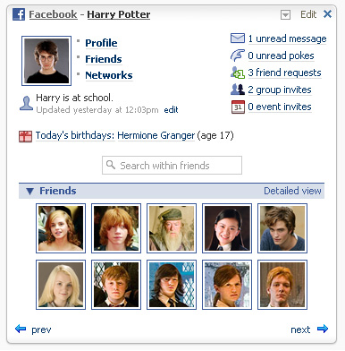 facebook netvibes widgets