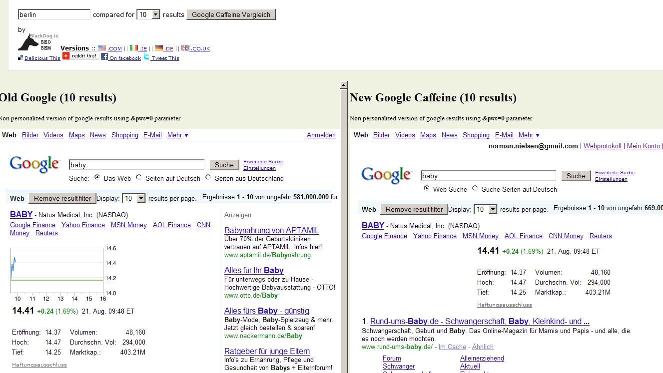 Google versus Google Caffeine